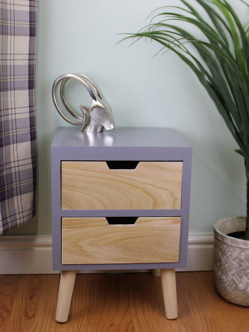 Grey 2 Drawer Chest with Natural Wood Drawers and Legs