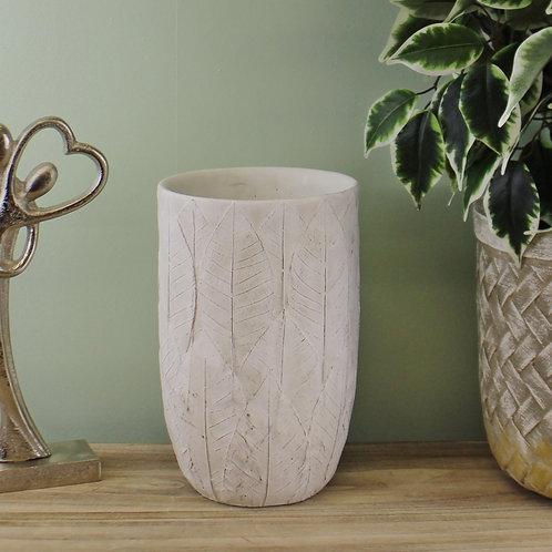 Cement Embossed Leaf Vase
