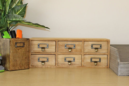 Double Level 6 Drawer Wooden Trinket Drawers