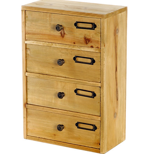 Tall 4 Drawer Wooden Trinket Drawers