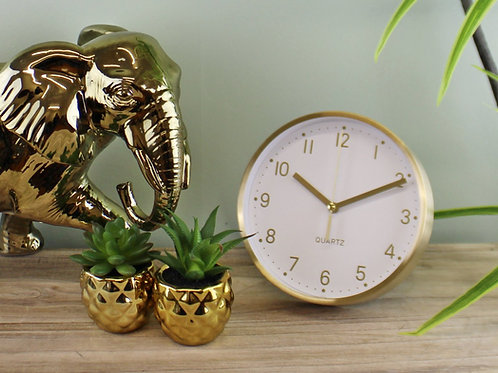 Gold Metal Table or Wall Clock