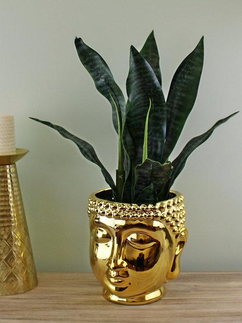 Large Gold Buddha Head Planter