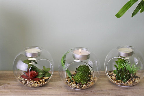 Glass Tealight Candle Holder with Artificial Succulent Plants