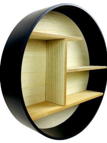 Round Wooden Wall Mounted Shelf Unit