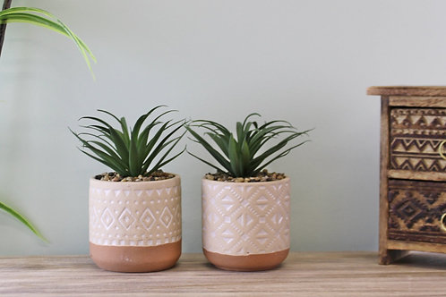 Set of 2 Large Artificial Succulents in Patterned Pots