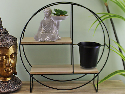 Freestanding Black Metal Shelf Unit with Buddha and Planter
