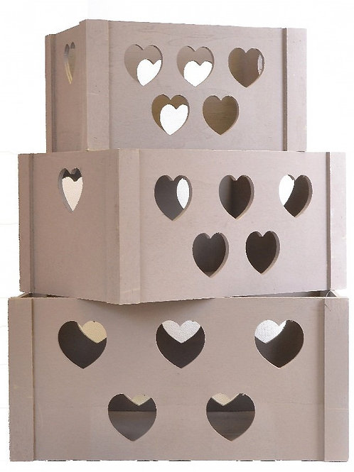 Set of 3 Wooden Heart Storage Crates