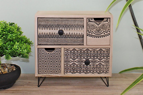 Aztec Design 4 Drawer Wooden Trinket Drawers
