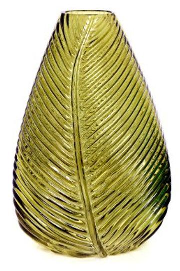 Yellow Glass Leaf Vase