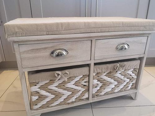 Whitewash Storage Bench Seat with 2 drawers and raffia baskets