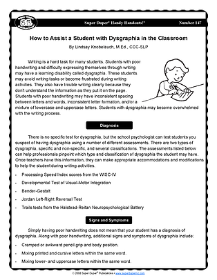 How to Assist a Student with Dysgraphia