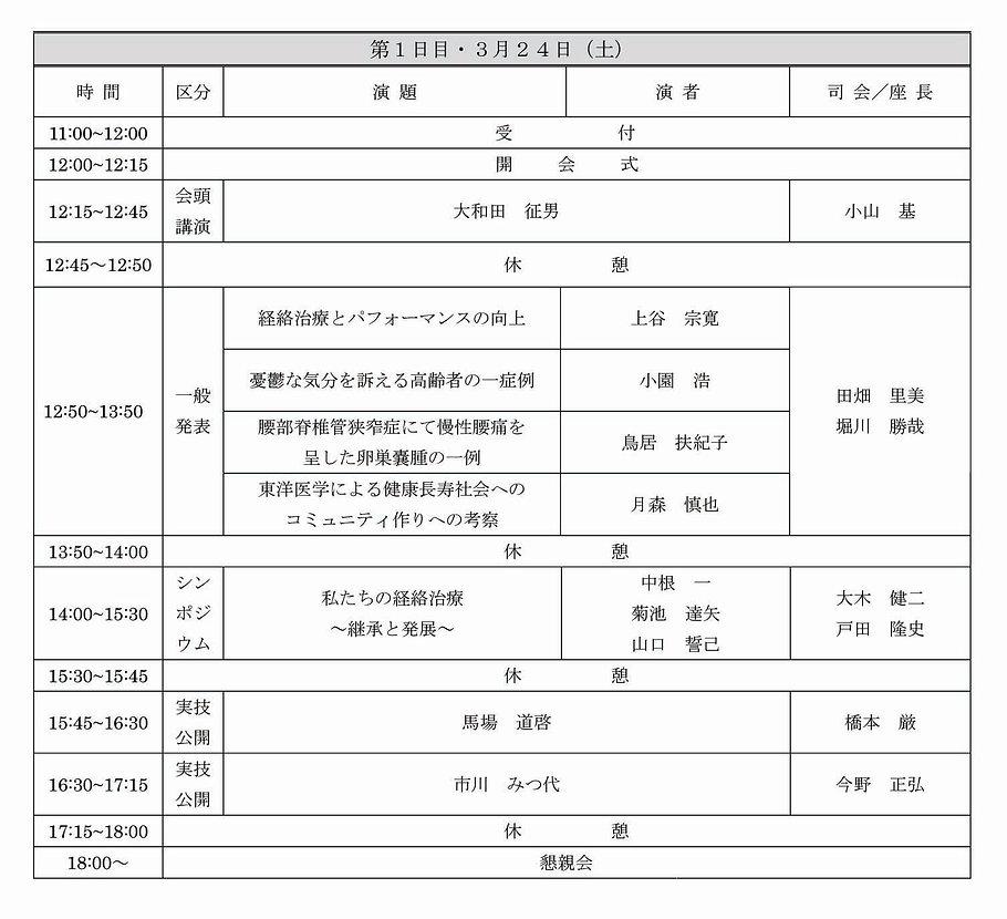 第33回 経絡治療学会学術大会 東京大会。プログラム。