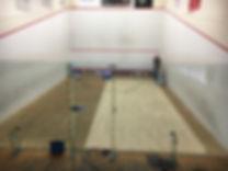 Squash court floor sanding