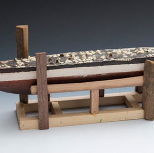 Dry Docked II, Ceramic and Wood, 15_x 7_