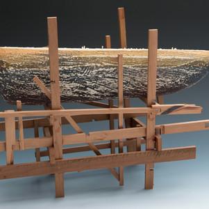 Dry Docked III, Ceramic and Wood, 17_x 1