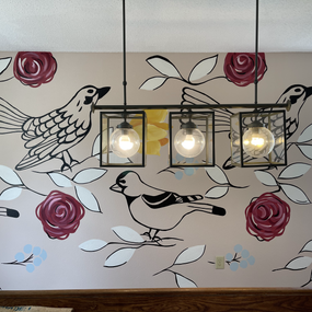 Mural with birds and flowers