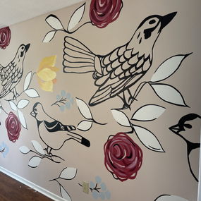 Interior dining room mural with birds an