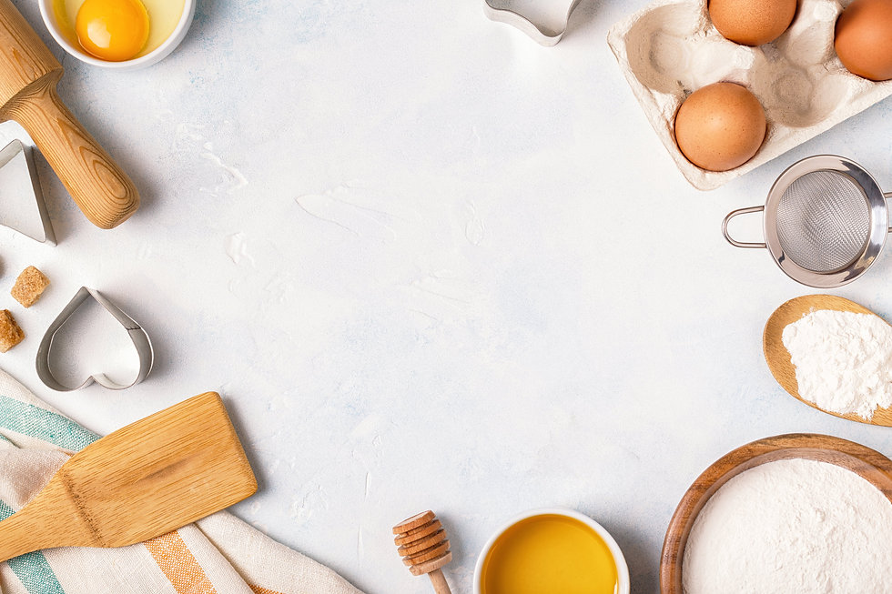 Table with baking equipment