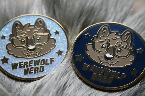 Werewolf Nerd Gold Enamel Pin