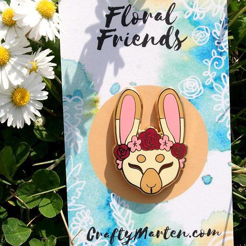 Floral Friends Bunny Hard Enamel Pin