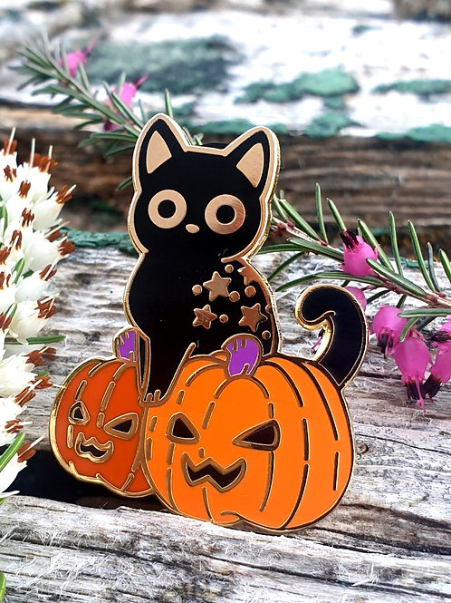 Rollo the Witch's Cat enamel pins