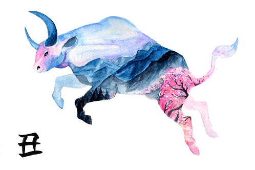 Zodiac BullA4 Watercolour Print
