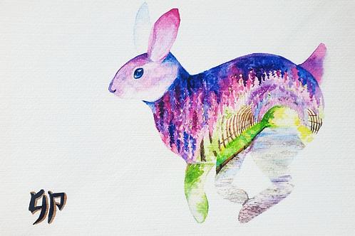 Rabbit Zodiac A4 print on watercolour paper