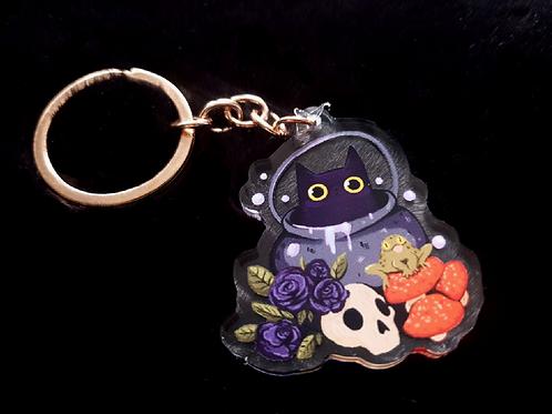 Cauldron Cat Clear Acrylic Keyring