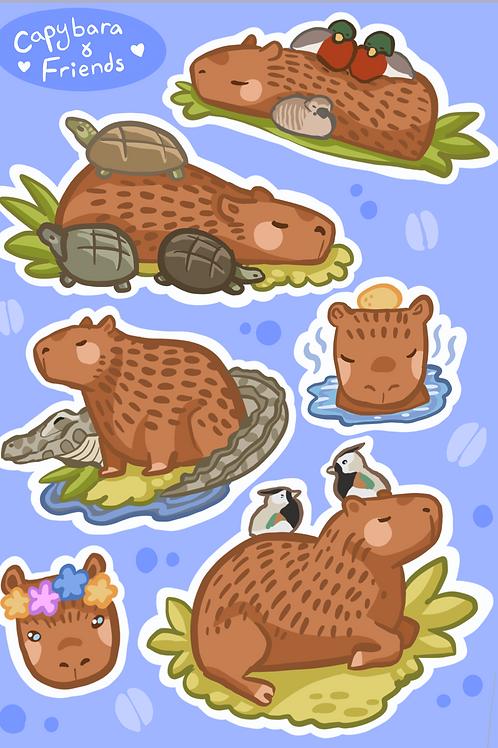 Capybara and Friends A6 Sticker Sheet