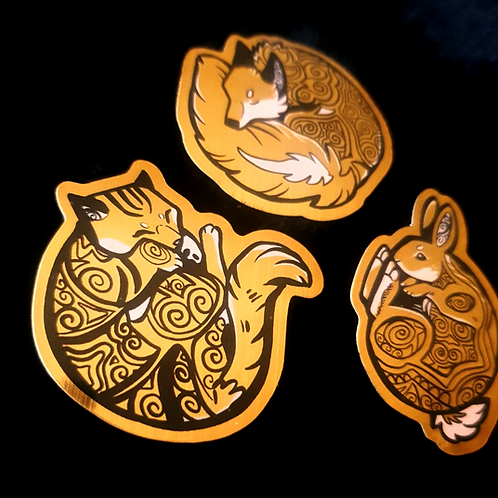 Brushed Gold Animal Stickers