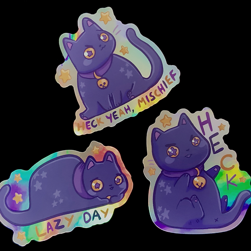 Heck! Holographic cat stickers