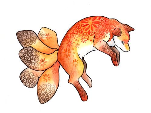 Kitsune Watercolour A5 Prints