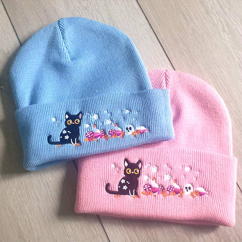Black Witch's Cat Embroidered Beanie Hat