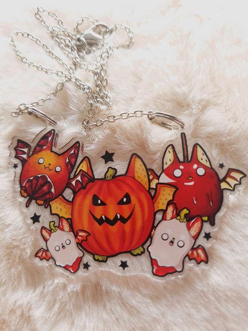 Spooky Fruit Bat Halloween Necklace