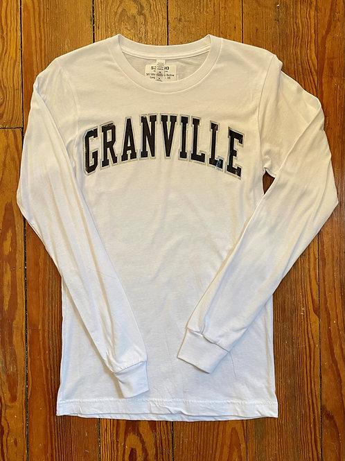 587 White Varsity Outline Long Sleeve Granville Tee
