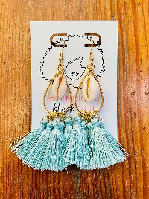 Whimsical Black Girl Light Blue Shell Tassel Earrings
