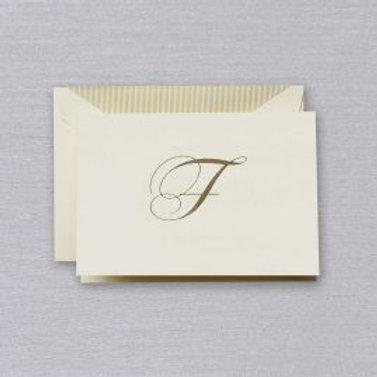 """Crane Engraved Script """"F"""" Initial Note"""