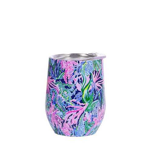lilly pulitzer stainless steel wine glass with lid, bringing mermaid back