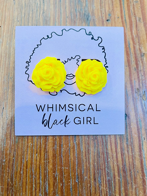 Whimsical Black Girl Yellow Rose Studs