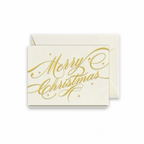 Crane & Co MERRY CHRISTMAS RIBBON GIFT ENCLOSURE CARD