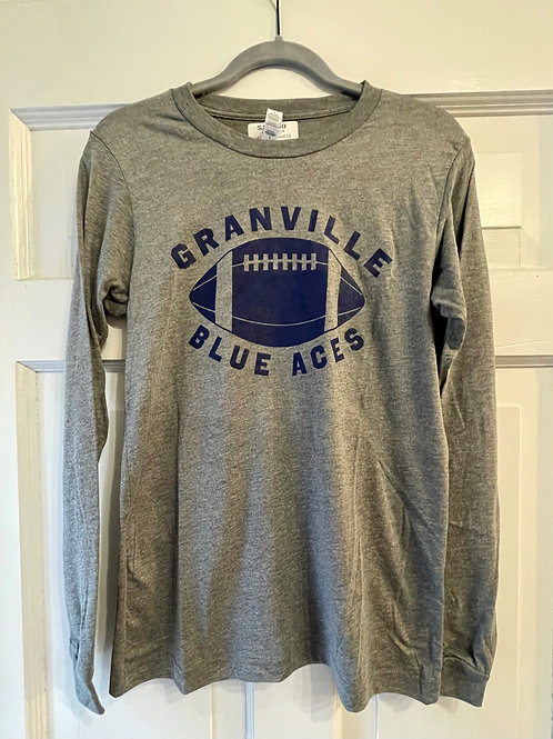 Discontinued 587 Gray and Navy Blue Long Sleeve  Football Tee