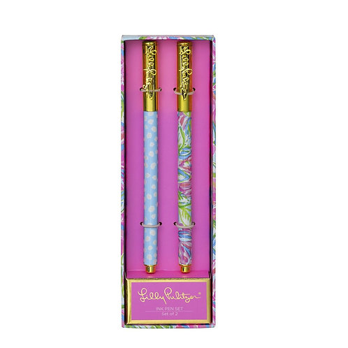 lilly pulitzer ink pen set, totally blossom