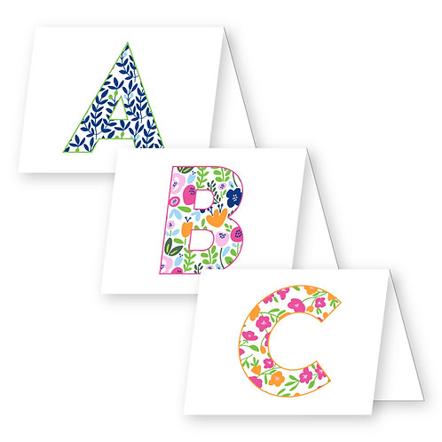 Floral Initial Foldover Notecards