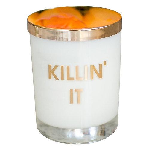 KILLIN' IT CANDLE- GOLD FOIL ROCKS GLASS