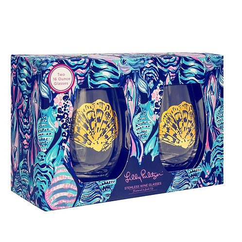 Lilly Pulitzer glass wine glass set, scale up
