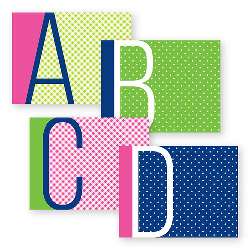 Pattern Play Initial Foldover Notecards