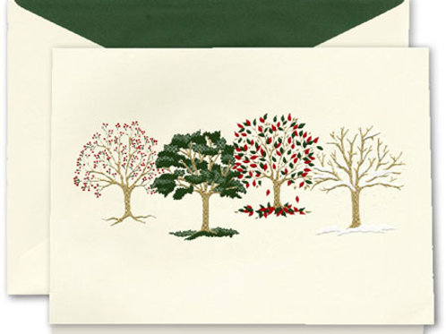 Crane Engraved Four Seasons Boxed Holiday Greeting Cards