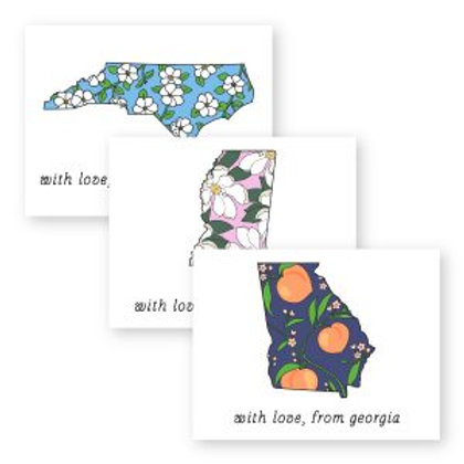 Lovely Floral State Foldover Notecards