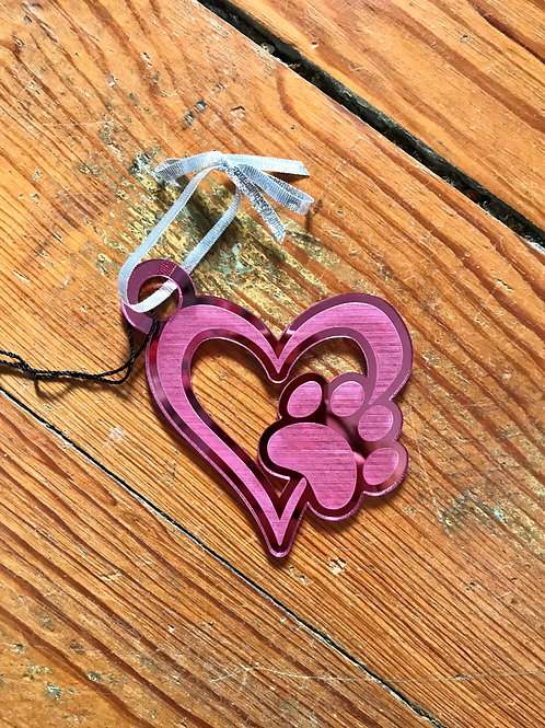 Real Big Puppy Pink Heart Paw Ornament