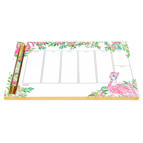 lilly pulitzer weekly desk pad with pen, floridita